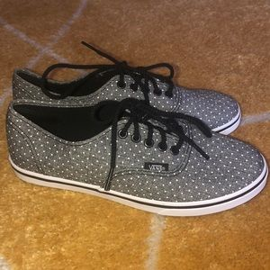 Gray and white polka dot Vans